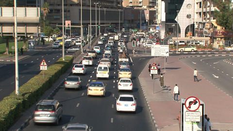 Traffic downtown Dubai Stock Video Footage