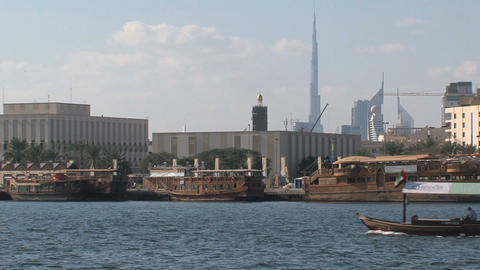 Traditional boat in Dubai harbor Stock Video Footage