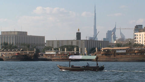 Traditional boat in Dubai harbor Footage