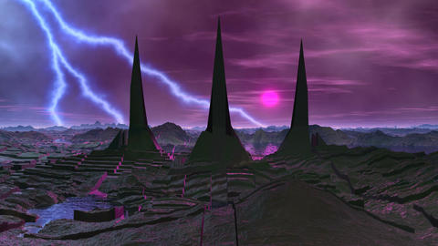 Towers of aliens and lightning Animation