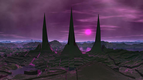 Towers of aliens and lightning Stock Video Footage