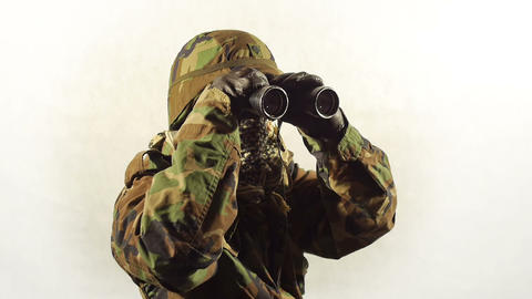 Masked Soldier With Binoculars. stock footage