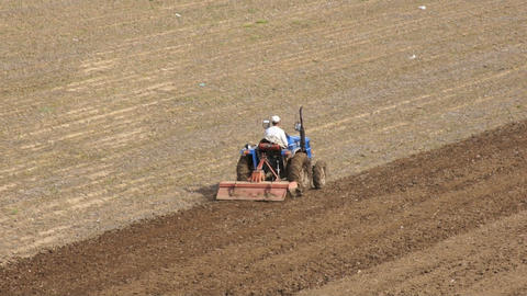 Tractor Plowing The Field 07 stock footage