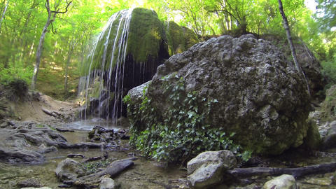 Waterfall Silver Jets, Grand Canyon of Crimea, Crimea,... Stock Video Footage