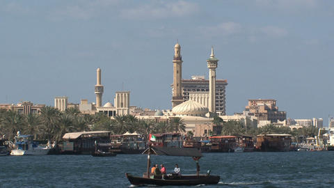 Ferry in front of the Grand Mosque in Dubai Stock Video Footage