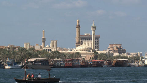 Ferry in front of the Grand Mosque in Dubai Footage