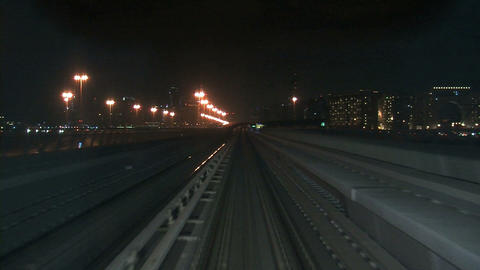 Dubai metro at night timelapse Footage
