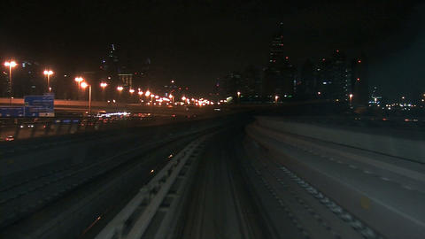 Dubai metro at night timelapse Stock Video Footage