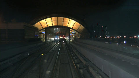 Dubai metro at night Stock Video Footage