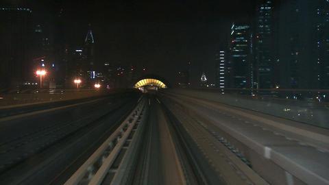 Metro train driving through Dubai Stock Video Footage