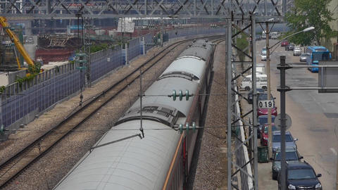 overlook train slowly passing,intercity traffic in china Footage