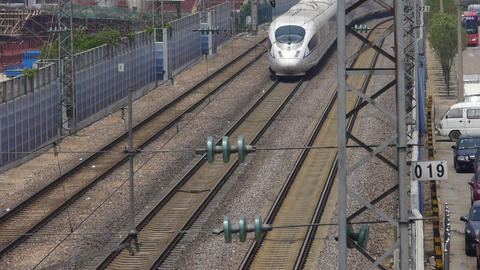 high-speed rail slowly pulling out of the... Stock Video Footage