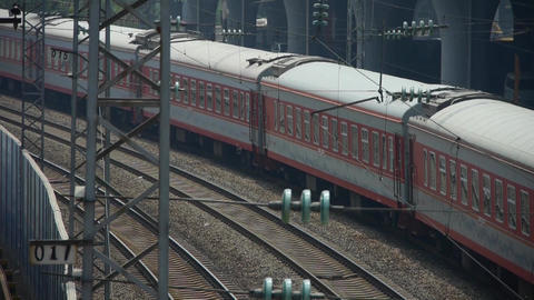 overlook two train slowly staggered passing,intercity traffic in china Footage