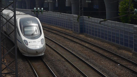 overlook high-speed rail passing Stock Video Footage
