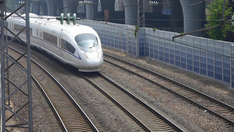 overlook high-speed rail fast passing Stock Video Footage