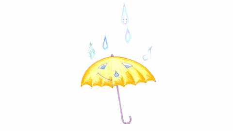umbrella under rain Animation