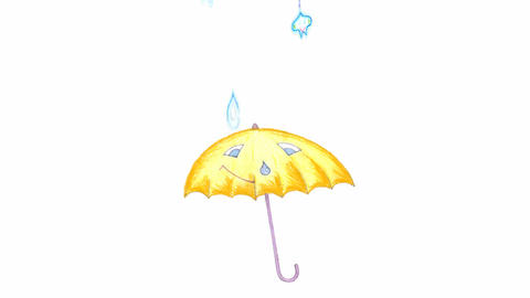 umbrella under rain Stock Video Footage
