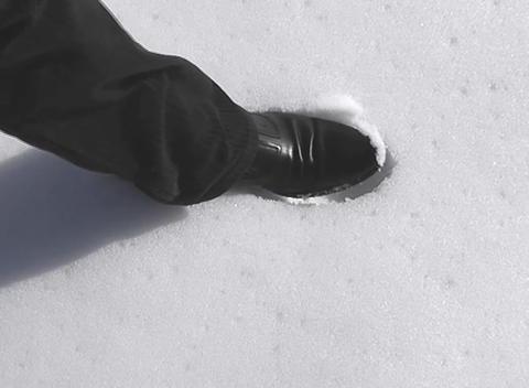snow feet mark Stock Video Footage