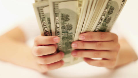 Female hand count the money Stock Video Footage