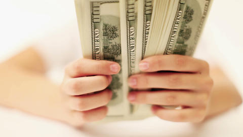 Female Hand Count The Money stock footage