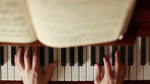 Piano, hands pianist playing music Footage
