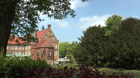 Water castle in North Rhine-westphalia Stock Video Footage