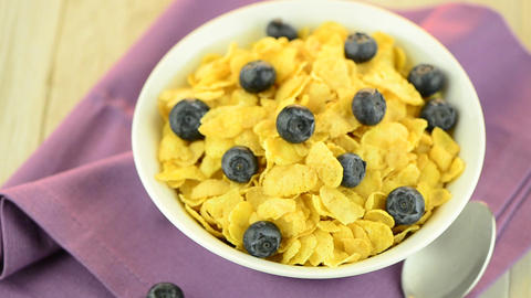 Cereal and blueberries Stock Video Footage