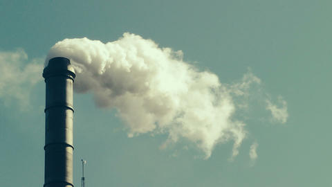 Factory Smokestack stock footage