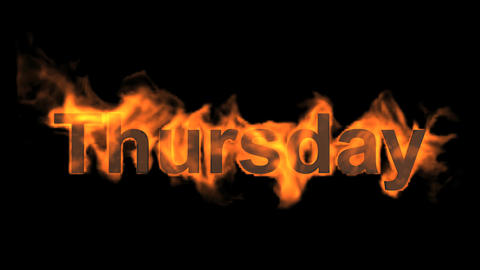 flame thursday word,fire week text Stock Video Footage