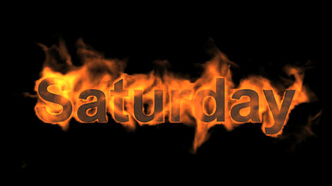 flame saturday word,fire week text Animation