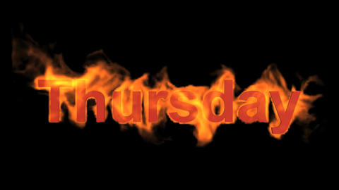 flame thursday word,fire week text Animation
