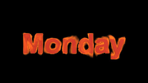 flame monday word,fire week text Stock Video Footage