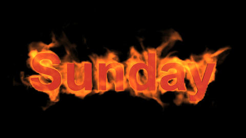 flame sunday word,fire week text Stock Video Footage