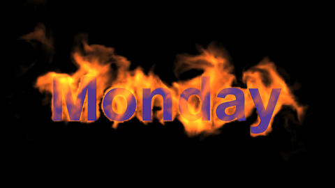 flame monday word,fire week text Animation