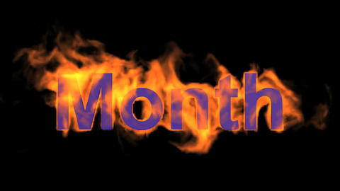 flame month word Animation