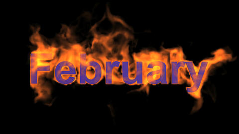 flame february word,fire month text Stock Video Footage