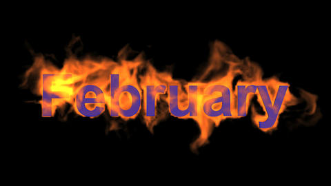 flame february word,fire month text Animation