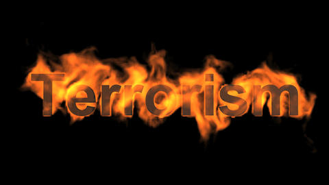 burning terrorism word,fire text Stock Video Footage