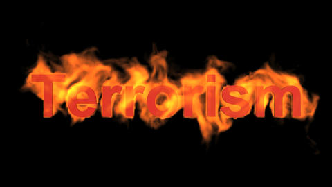 burning terrorism word,fire text Animation