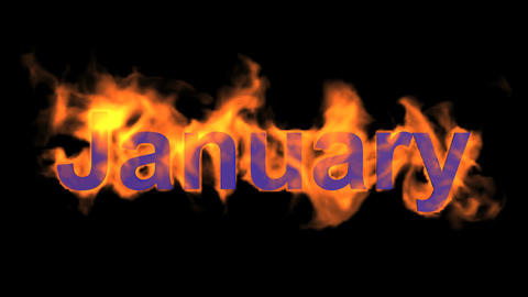 flame january word,fire month text Animation