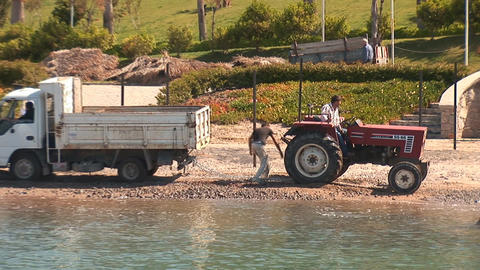 tractor on the beach Stock Video Footage