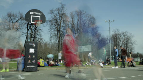 Streetball game timelapse 2 Footage