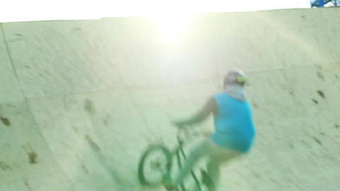 Demonstrative performance of extreme cyclists. Sequence Footage