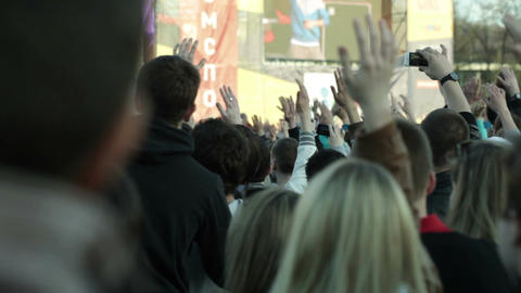 People dance during the open-air concert Stock Video Footage
