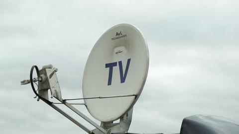 Satellite dish antennas under sky Stock Video Footage