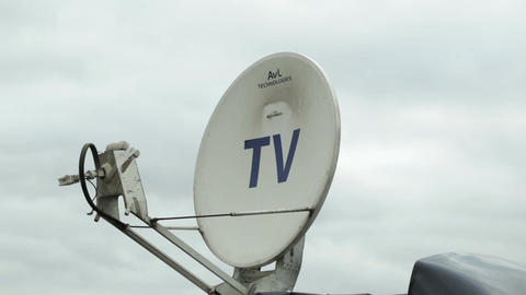 Satellite dish antennas under sky Footage