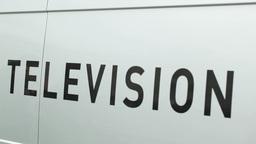 International TV crews. News Van Stock Video Footage