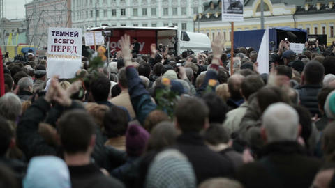 Protest manifestation in Moscow Stock Video Footage