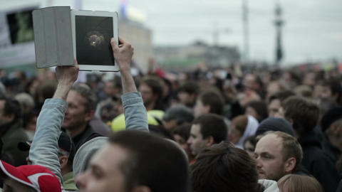 Unidentified person records the protest manifestation Footage