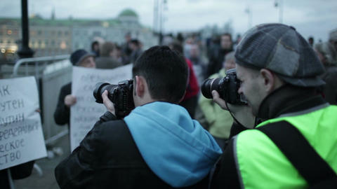Photographers taking pictures of participants of the... Stock Video Footage
